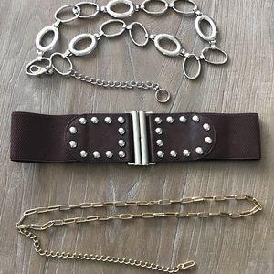 Accessories - Vintage Belt Bundle Chains And Stud Stretch